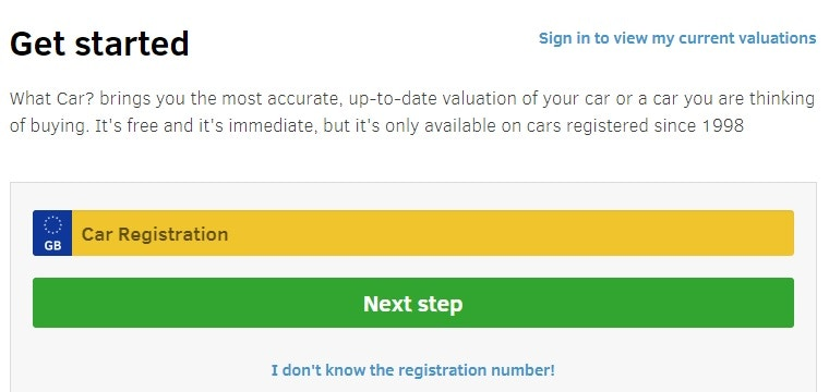 Starting your car valuation with What Car?