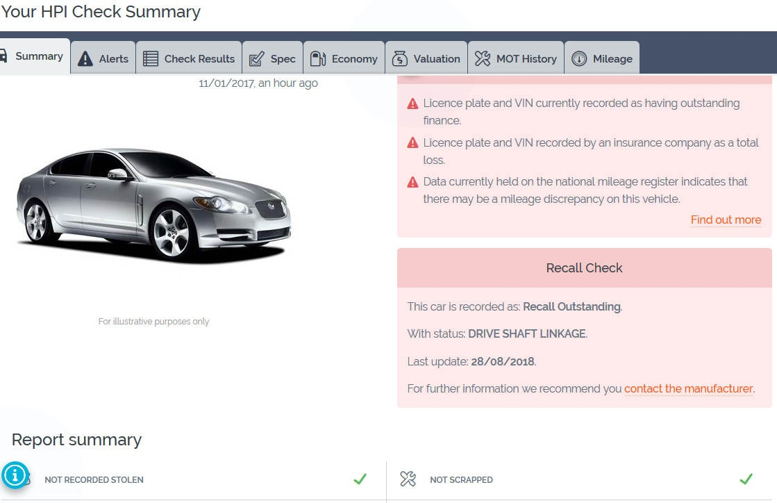 check for outstanding finance on a car