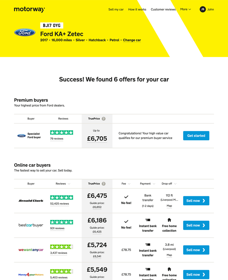 Compare offers at Motorway.co.uk