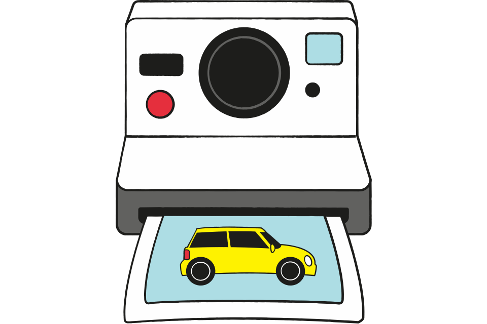 A polaroid camera with a photo of a yellow car