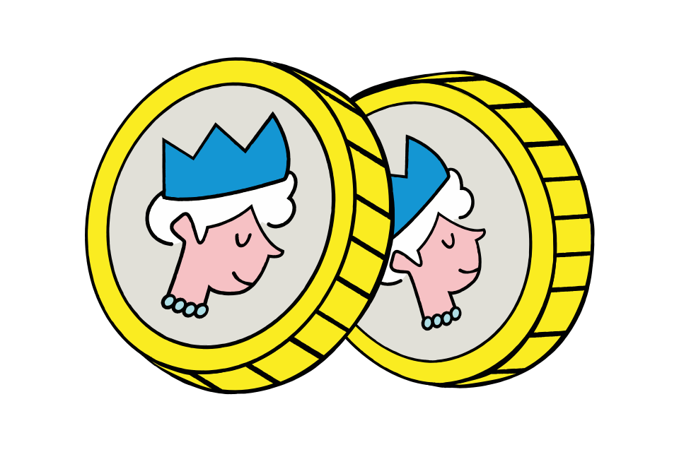 Two english pound coin illustrations