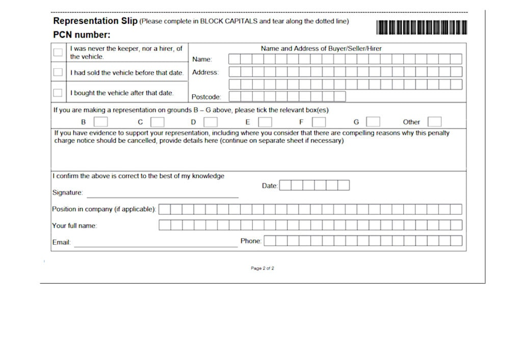 A Dart Charge PCN includes a Representation Slip for appeals