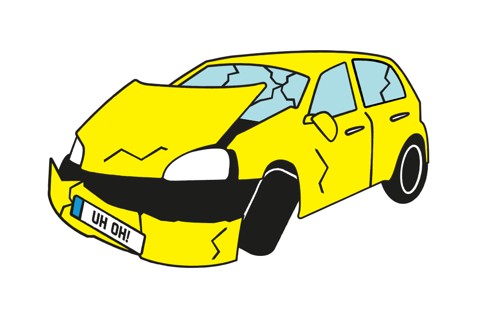 Smashed up yellow car