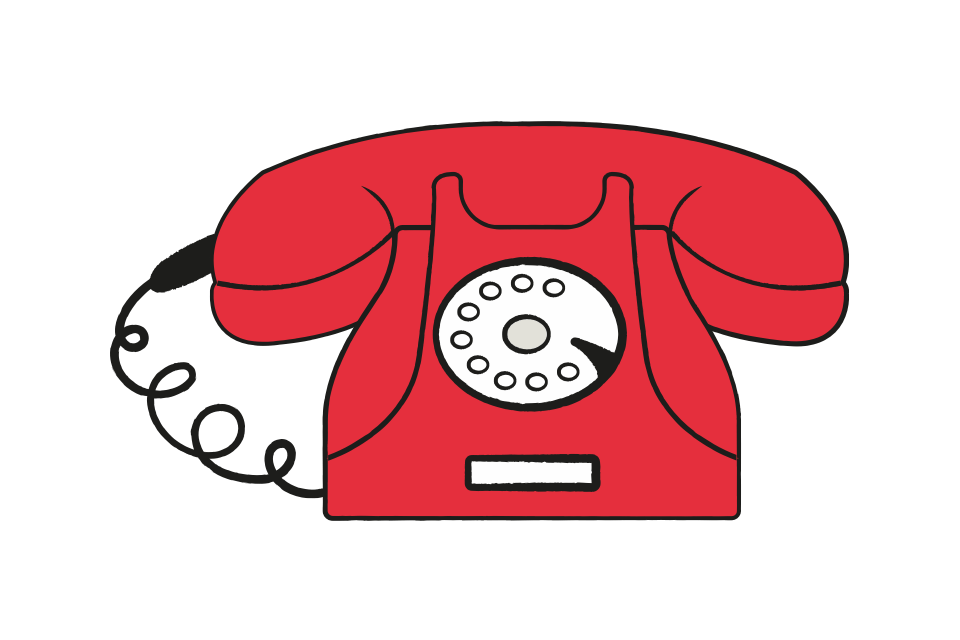 illustration of a red telephone